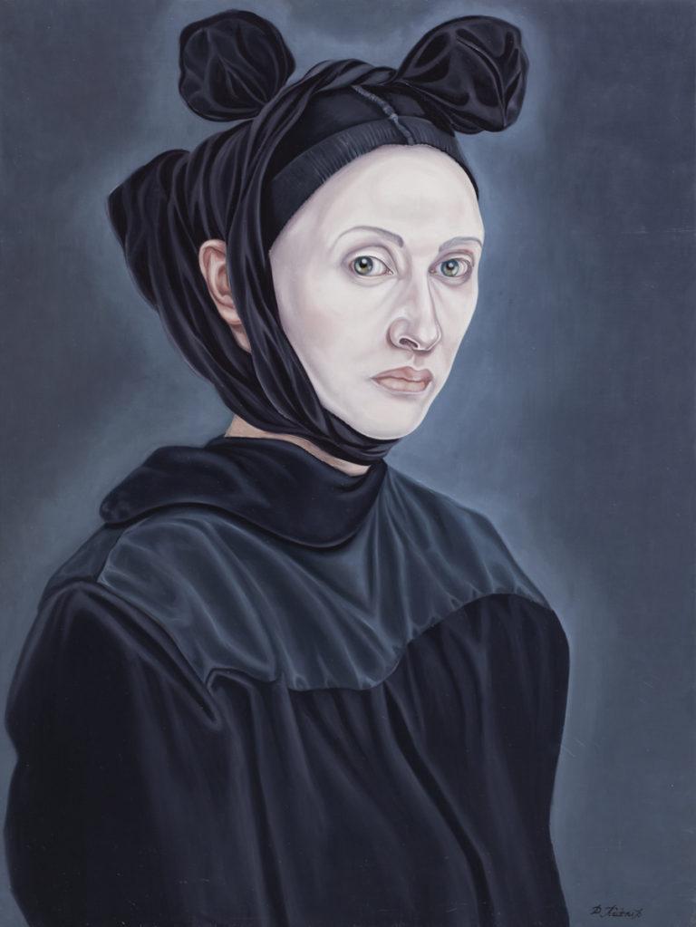 1. à rebours, z cyklu Współczesne Madonny, 2017, olej, płótno, deska, 80x60 cm, kolekcja prywatna