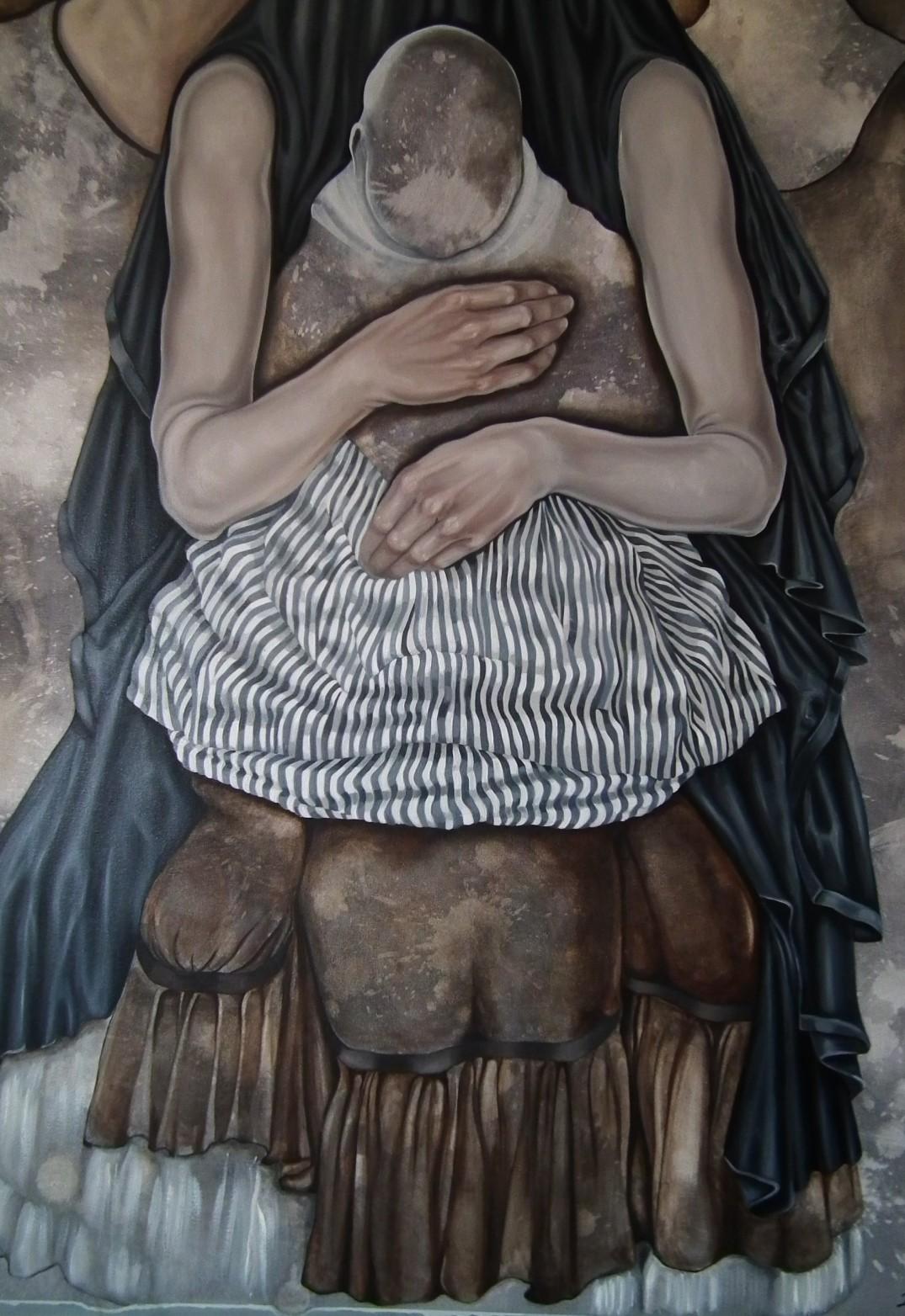 12. z cyklu Hidden children - hidden mothers, 2018, olej, płótno, 140x110 cm (fragment) kolekcja prywatna