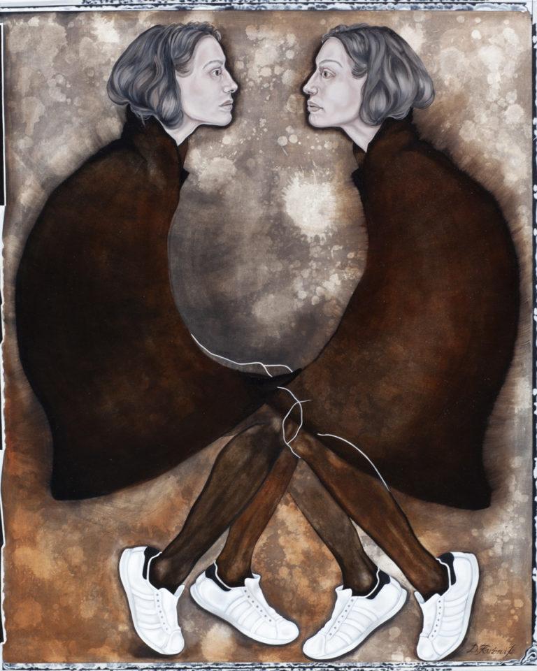 13.GENTLEWOMAN, z cyklu Comme des garcons, 2018, olej, płótno, 150x120 cm, kolekcja prywatna