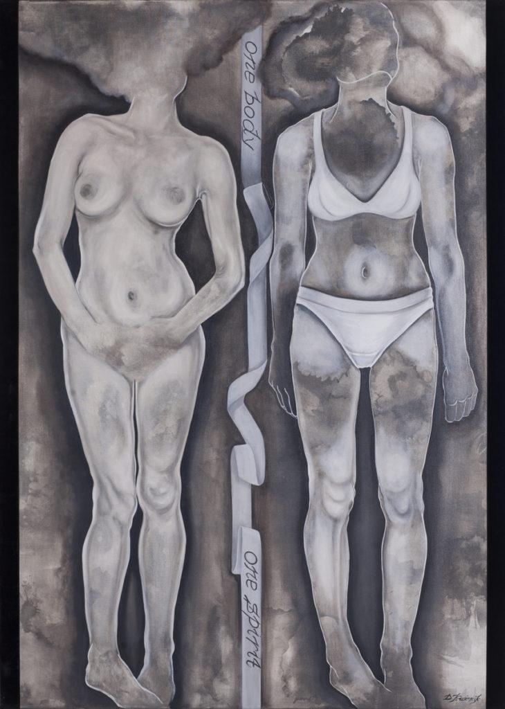 18. One body-one spirit, 2018, olej, aksamit, płótno, 140x100 cm, kolekcja prywatna