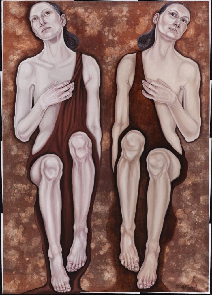 2. (ON)A S(HE), z cyklu Comme des garcons, 2019,olej, płótno, 140x100 cm, kolekcja prywatna