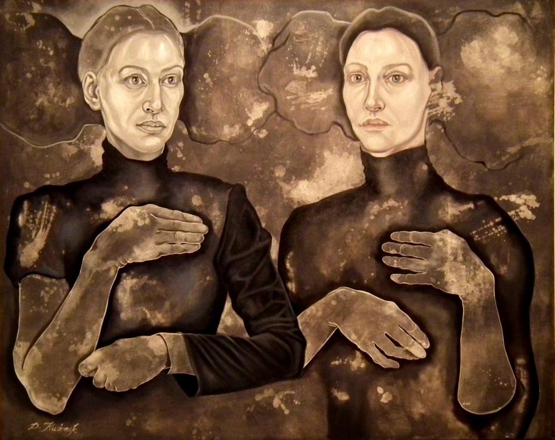 23. z cyklu Hidden children - hidden mothers, 2017, olej, płótno 80x120 cm w kolekcji prywatnej