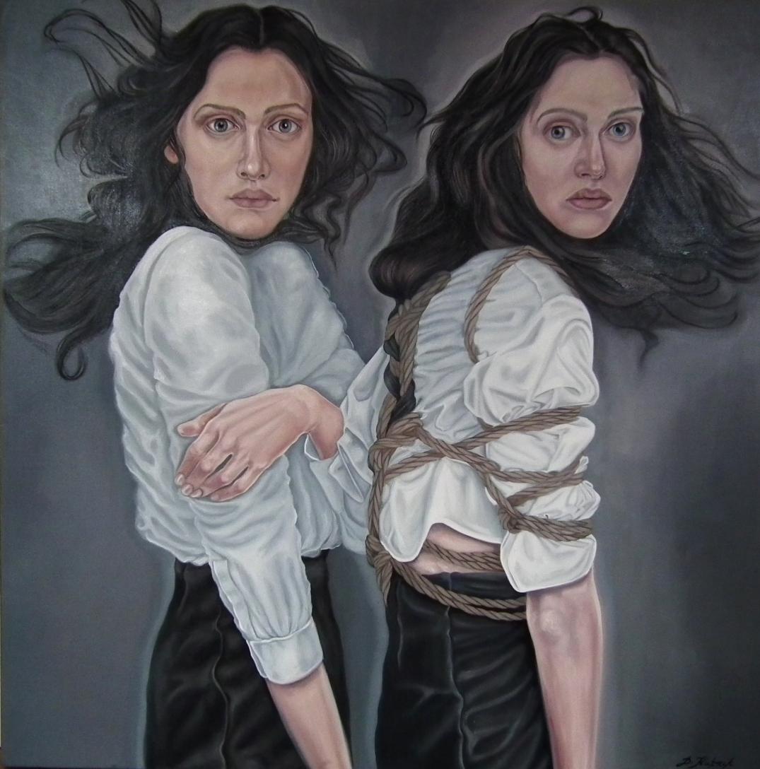 24. Twins, 2017, olej, płótno, 100x100 cm, kolekcja prywatna