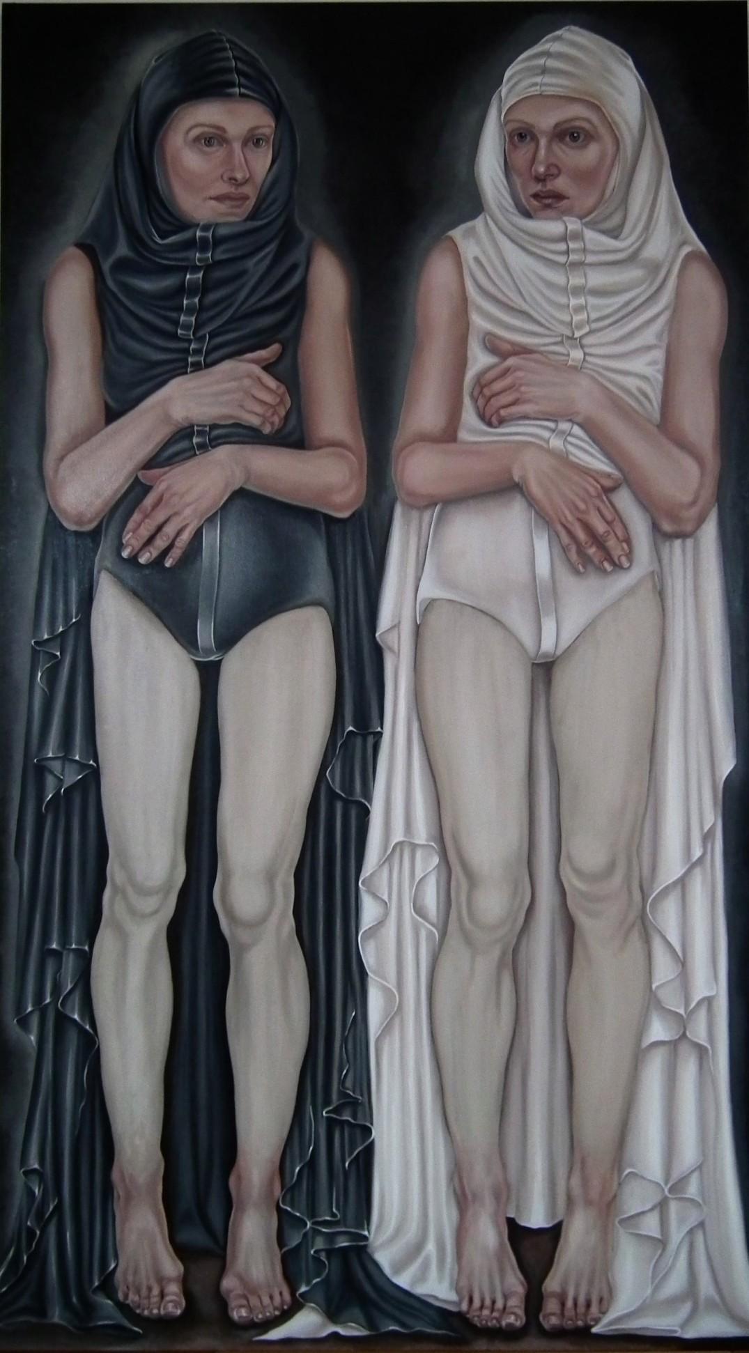 28. z cyklu Hidden children - hidden mothers, 2019, olej, płótno, 160x90 cm