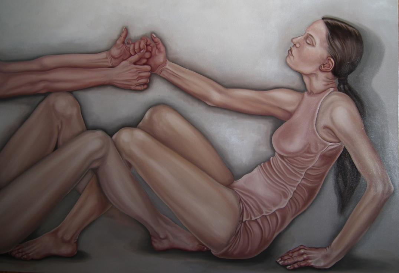 29. fragm z cyklu Comme des garcons, 2019, olej, płótno, 90x160 cm