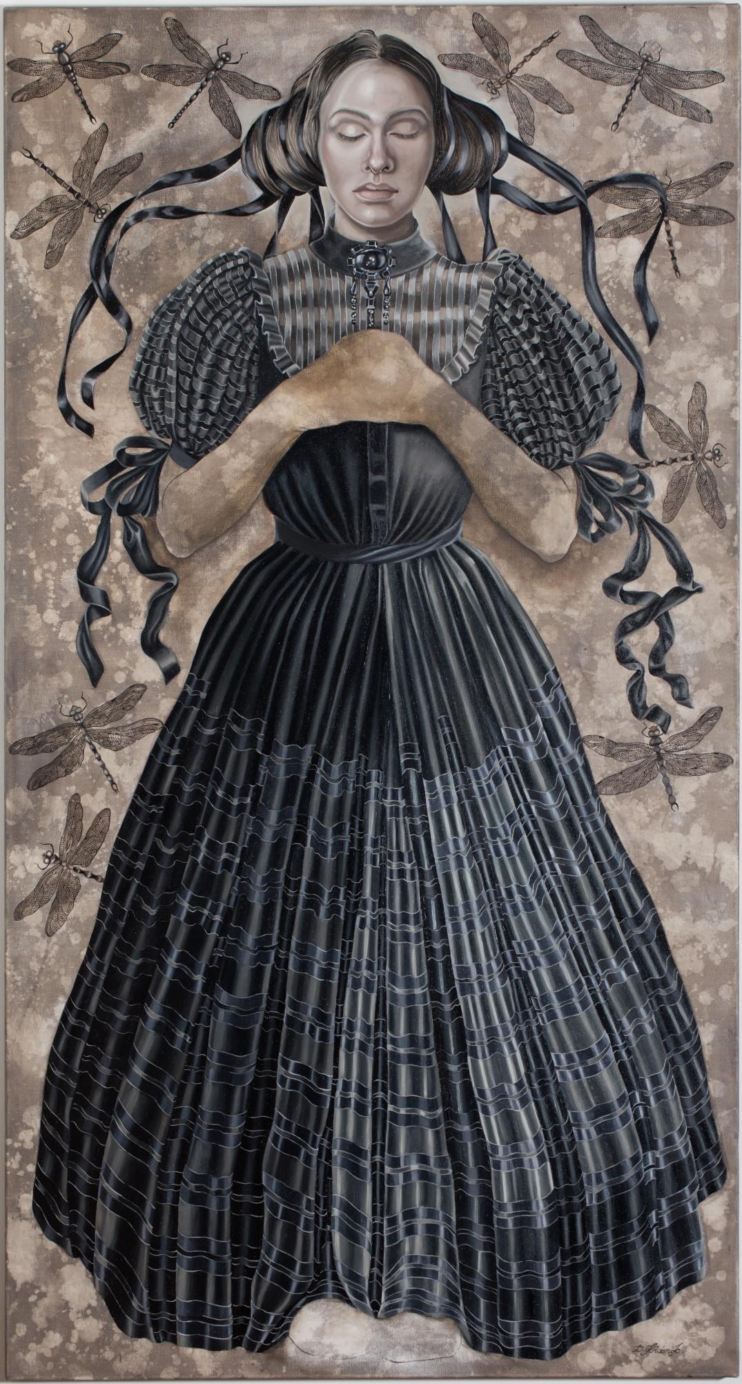 38. Czarna sukienka, Odonata, 2020, olej, płótno,150x80 cm