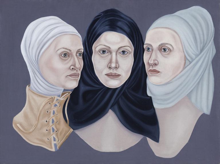 9. Dreifältigkeit -Glaube, Liebe, Hoffnung, z cyklu Współczesne Madonny, 2016, olej, płótno, deska, 60x80 cm, kolekcja prywatna
